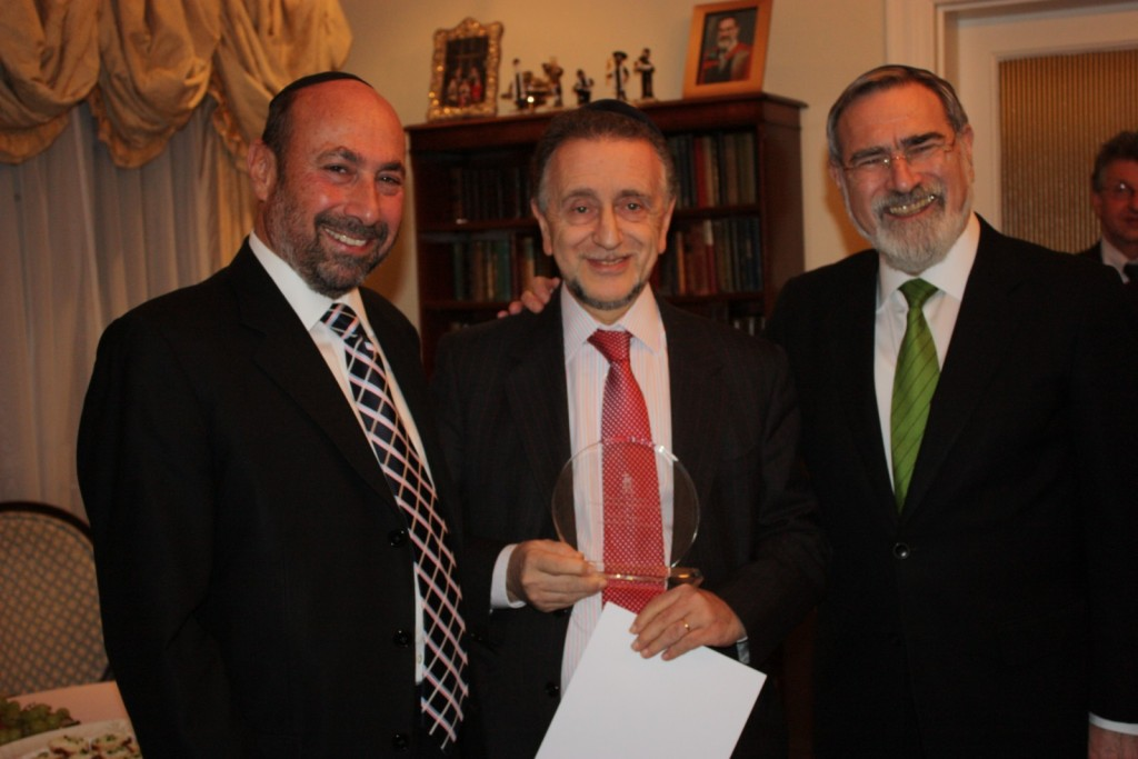 From left to right: Stephen Pack, Michael Haringman and Chief Rabbi, Lord Sacks